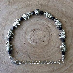 Elephant Charm & Black Bead Boho Bracelet Costume